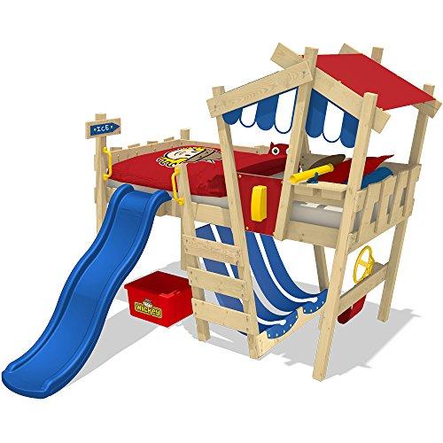 WICKEY Kinderbett mit Rutsche CrAzY Hutty Hochbett mit Dach Abenteuerbett mit Lattenboden, blau-rot + blaue Rutsche - 2