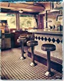 Digitaldruck / Poster Ralf Uicker - American Diner - 50 x 62.5cm - Premiumqualität - Fotokunst, Interieur, Bar, Kneipe, Tresen, Barhocker, American scene, Fast food Resta.. - MADE IN GERMANY - ART-GALERIE-SHOPde