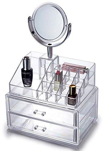 Maquillaje y joyero con espejo y cajones, acrílico transparente de almacenamiento cosméticos caja de rack