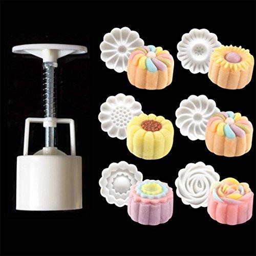 Silikonform, BZLine® Chinesische Blumen Muster Mooncake Mold Set Fondant Candy Form (Mold Blume Fondant)