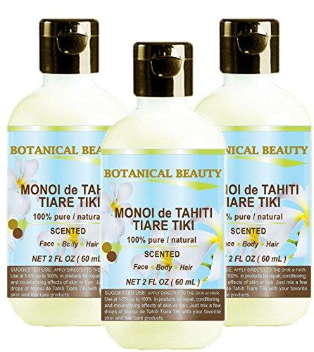 MONOI de TAHITI TIARE TIKI OIL 100 % Natural / 100% PURE BOTANICALS – 60 ml. For Skin, Hair and Nail Care.