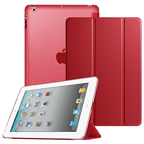 Fintie iPad 2 / 3 / 4 Hülle - Ultradünne Superleicht Schutzhülle mit transparenter Rückseite Abdeckung Cover mit Auto Schlaf / Wach Funktion für Apple iPad 2 / iPad 3 / iPad 4 Retina, Rot