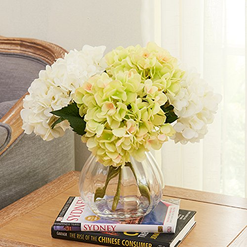 Qwer Glass Vases Hydrangea Flower Art Overall Package Artificial Flowers Living Room Decorated In Silk Flower Bouquets Furnished , Emulation Vases +3 Support White +3 Support Green Hydrangea