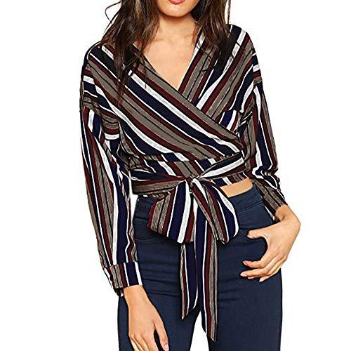 Damen Pullover Oberteil Sexy Dasongff Bluse Langarm v Ausschnitt Gestreift Hemd Lose Gestreift Bluse Vintage Tunika Hemd Frauen Outwear