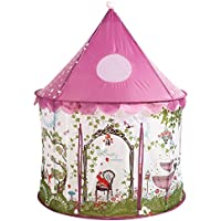 Utex Girls Princess Fairy Tale Castle Play Tent W/Pink Prairie Design-Foldable For Indoor & Outdoor Use W/Zipper Storage Case