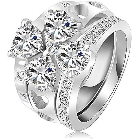Soxid (TM) LZESHINE unico marchio Tre impilabile anelli di platino cuore piatto Clover anello con elementi di SWA austriaca di cristallo Ri-HQ1009-B