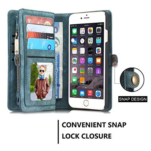 Phone case & Hülle Für iPhone 6 / 6s, Multifunktionale echtes Leder Brieftasche mit abnehmbarem magnetischen PC zurück Schutzhülle & 10 Card Slots & 3 Cash Slots & 2 Foto Frames & 1 Zipper Wallet & 3  Green