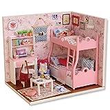 LianLe Puppenhaus Pink Mädchen Prinzessin Zimmer DIY mit Licht Kinder Geschenk