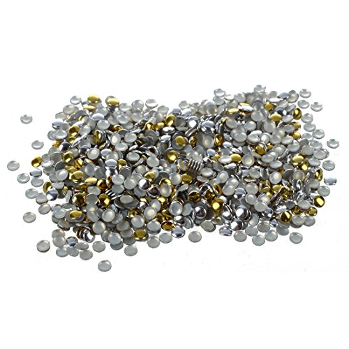 SODIAL(R) Art d'ongle 300 Pieces Or & Argent 2mm Goujons ronde en metal pour Ongles, telephones cellulaires