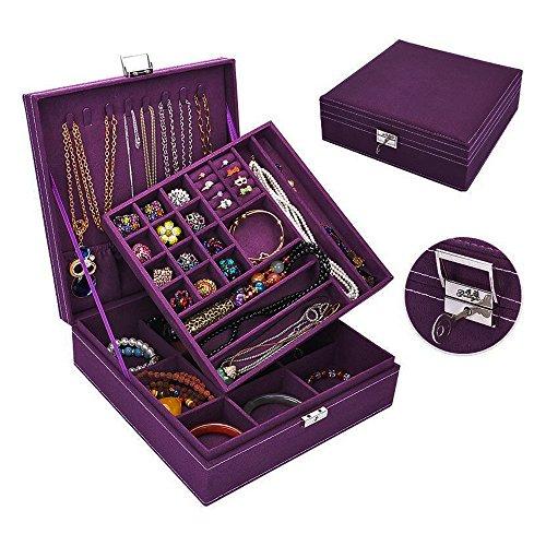 séparer peluches Boîte à bijoux Organisateur Affichage étui de rangement avec serrure