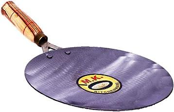 MK KITCHENWARE Iron Roti Tawa with Wooden Handle 10 Inches Original Loha