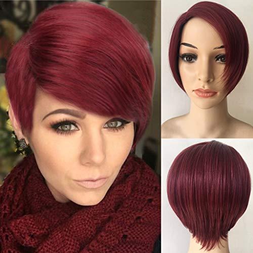 Perruque Cheveux Raides Naturels Courte Droite Vin Rouge Dégradé Couleur Femmes Mode Synthétique 2019 peruvienne pas cher 20cm
