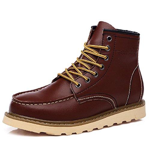 Chaussures Pour Hommes De Plein Air Loisir Des Sports Bottes De Martin Cuir VéRitable Dentelle Bottes Militaires Wine Red