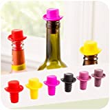 #9: VASTRA Funny Hat Silicone Wine Caps – (Set of 1PC) Reusable Wine Stoppers That Will Seal Champagne, Beer and Wine Bottles