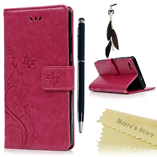 Mavis's Diary Huawei P8 Lite Cover Rosa Rosso, Retro Fiore Modello Stampata Design Con Cinturino (Cinghia Della Gomma Di Silicone)