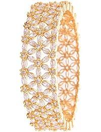 Ratnavali Jewels Beautiful CZ Studded Gold Plated Traditional White Heavy Kada Bangles Set For Women RV2948