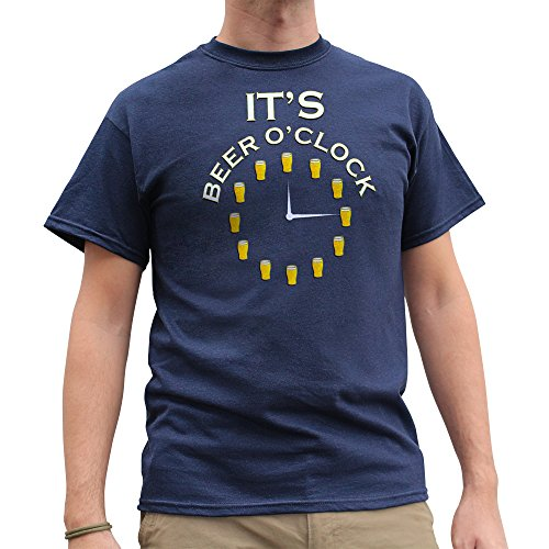 Nutees It's Beer O'clock Pub Drinking Stag Do Funny Herren T Shirt - Marineblau X-Large