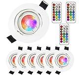 6Pack Decke Scheinwerfer Chrom LED RGB Deckenleuchte Panel Bunte Beleuchtung Dimmbare GU10 Glühbirnen 3W 3000K Warmes Licht mit Fernbedienung (rgb 3000k white-1)
