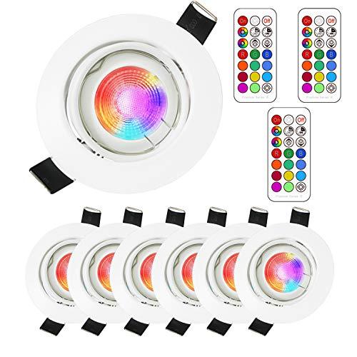 6Pack Faretto a soffitto GU10 RGB Lengjoy Lampade dimmerabili colorate da 3W Faretto Illuminazione atmosfera Mood Illuminazione decorativa con telecomando (6Pack RGB+5700K)