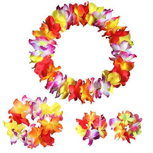 Mitlfuny Karnevalsparty Fancy Festival Zubehör,EIN Satz zählt Tropische hawaiianische Luau-Blumen-Lei-Party-Bevorzugungen
