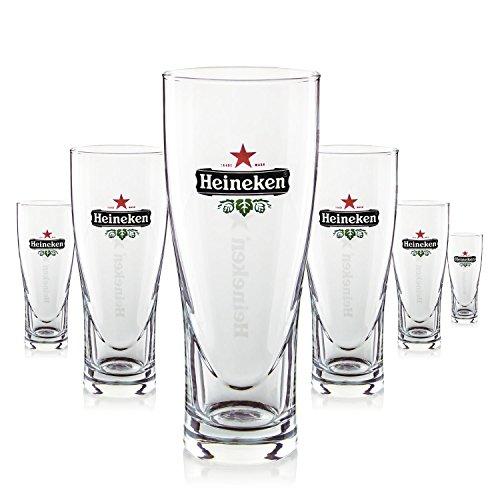Heineken 250 ml Bierglas - Bierglas-Set mit 6 Gläsern, Heineken-Stern eingraviert