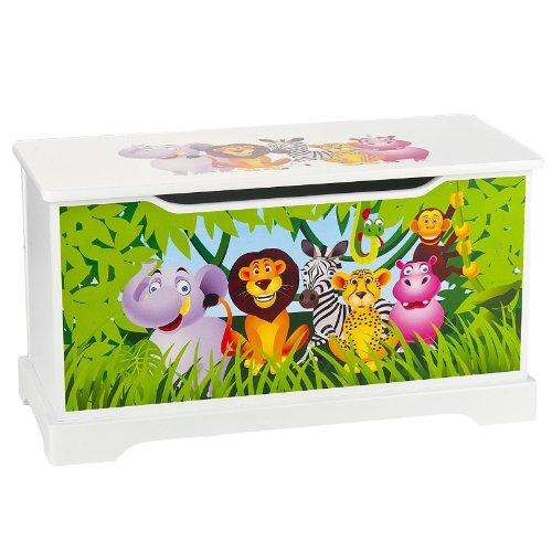 Prix Coffre à Jouets En Bois Motif Animaux Jungle  Récipient Pour Les Jouets, Banc à Rangement Children Coffre à Jouet Excellent Qualité Coloris Blanc Wooden Box