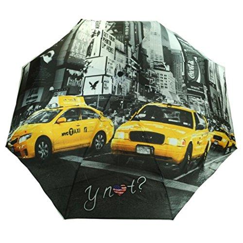 Y NOT? Super Mini City New York Grau-Gelb 55544 Damen Regenschirm Taschenschirm Schirm Schirme Damenschirm