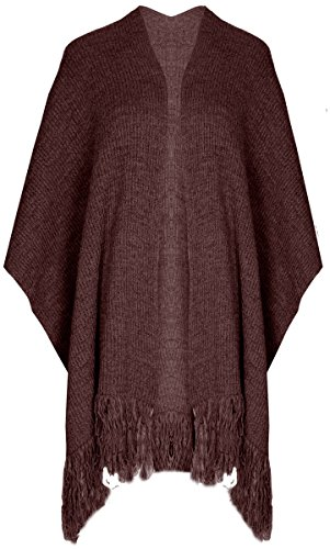 Ladies nappe caldo kntted, mantello taglia unica UK 8–14nero Vino