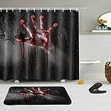 LNAG Anti-Schimmel Duschvorhang Anti-bakterieller Vorhang für die Dusche inkl 11-12 Duschvorhangringen Blut Hand , 180*200