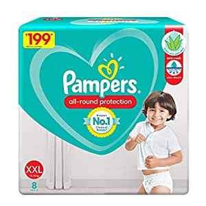 Pampers All round Protection Pants, Double Extra Large size baby diapers (XXL) 8 Count, Lotion with Aloe Vera
