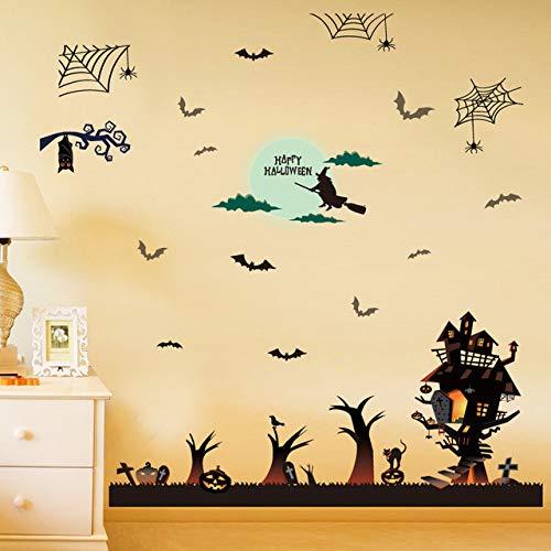 Decorazioni per la casa adesivi poster adesivo per pareti decorazione di halloween strega pipistrello adesivo per finestra terrorista porta scorrevole, 60x90cm