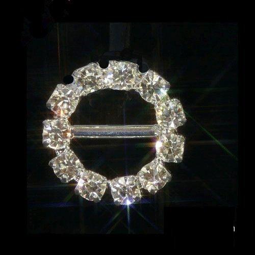 Buckle-Strass Schnalle zur Dekoration von Geschenkband, mit Strass-Verzierung, klein, rund, silberfarben, 10 Stück (Strass-schnallen Kleine)