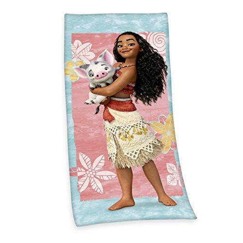 Preisvergleich Produktbild Herding 6172209516 Disney´s Vaiana Velourstuch Baumwolle, mehrfarbig, 75 x 150 x 1 cm