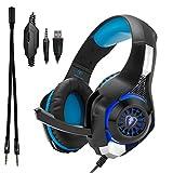 Beexcellent gm-1Draht 3,5mm Over-Ear Pro Gaming Headset Surround Sound Kopfhörer mit LED Beleuchtung und Mikrofon für PS4, Xbox One, PC, Notebook, Tablet, Handy (blau)