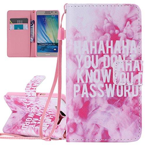 Coque pour Samsung Galaxy A5 (Pas pour A5 2016), Etui pour Samsung Galaxy A5, ISAKEN Peinture Style PU Cuir Flip Magnétique Portefeuille Etui Housse de Protection Coque Étui Case Cover avec Portable D Pink Texte