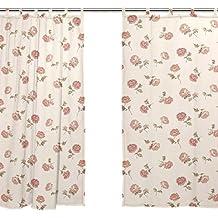 jstel 2pezzi Voile tenda di finestra, tende, Tulle Sheer corte Shabby Chic Rosa Floreale Drape Valance 139,7x 198,1cm Set di due pannelli