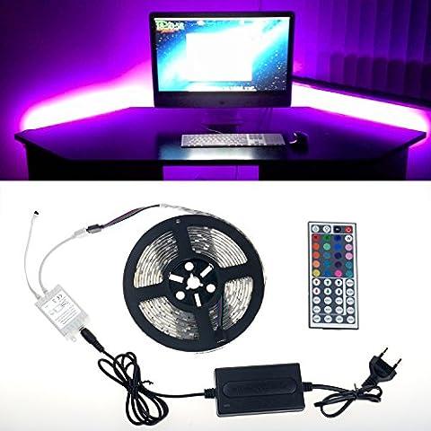 Simfonio Tiras LED Iluminación 5m 150 Leds Impermeable IP65 5050 SMD RGB Multicolor Tira de Led Kit Completo con Control remoto de 44 botones y fuente de alimentación 12V 2A para el Hogar Decorativo
