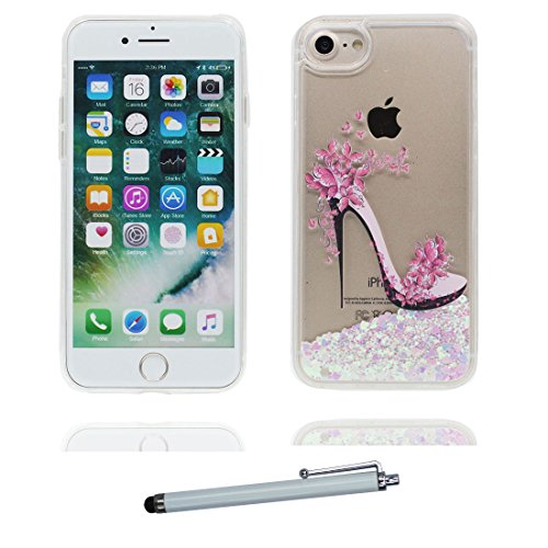 "iPhone 7 Coque, Skin Hard Clear étui iPhone 7, Design Glitter Bling Sparkles Shinny Flowing Apple iPhone 7 Case Cover 4.7"", Flamant Birds résistant aux chocs & stylet # 2"