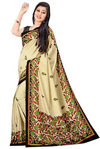 Anuraag's Malgudi Silk, Pure Crepe Saree with Unique Self Prints ( Beige Colour )