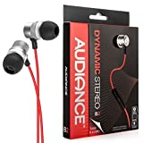 Audiance B2 Premium Earphones – Dynamic Stereo In-Ear Headphones for Running, Sport and Gym – Silver & Red