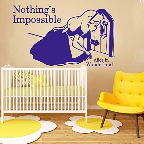 jiuyaomai Cartoon Nichts ist unmöglich Zitat Wandaufkleber Mädchen Kinderzimmer Zitat Wandtattoo 56 cm breit x 34 cm hoch