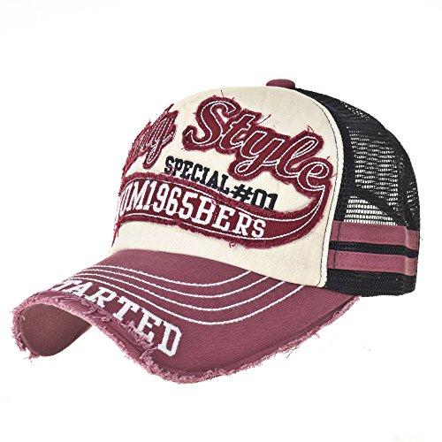 WITHMOONS Baseballmütze Mützen Caps Vintage Baseball Cap Meshed Distressed Trucker Hat KR1251 (Pink) (Trucker Distressed Hat-cap)