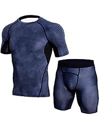 Herren Kompressions Kurze Ärmel T Shirt & Kompressions Shorts Base Layer Fitness