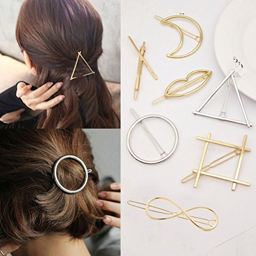 Cuhair 7 Stück Metall runden Feder Blatt Haarklammern/Haarclips Haarspange Haarnadeln Haargreifer Haarklammer Haarschmuck hair accessories