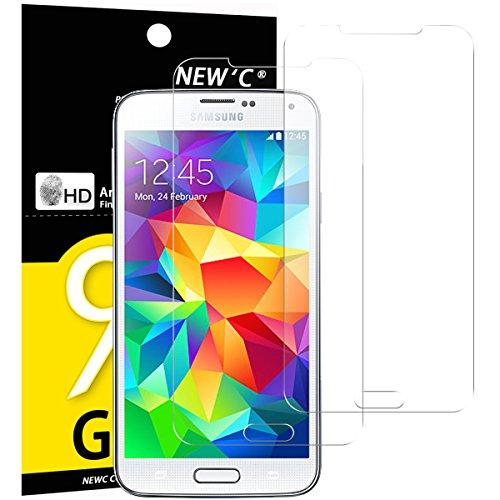 Pack de 2 Verre Trempé Samsung Galaxy S5, NEWC® Film Protection en Verre trempé écran Protecteur vitre - ANTI RAYURES SANS BULLES D'AIR Ultra Résistant Dureté 9H Glass Screen pour Galaxy S5