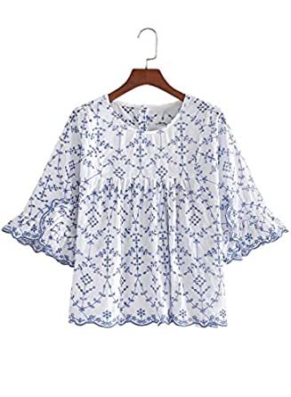 Futurino Women's Floral Embroidery Hollow Out Crewneck Pleated Blouse Top