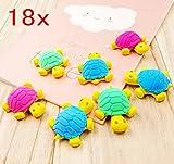 JZK 18 Cute Little Gummi Schildkröte Radiergummi Radierer Set, Spielzeug Gastgeschenk Geschenke für Geburtstag Party Festival neues Jahr Weihnachten