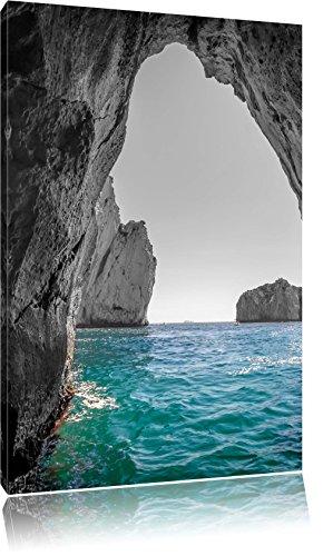 baia rocciosa nel mare nero / bianco, dimensione: 80x120 in alto tela angolare, XXL enormi immagini completamente Pagina con la barella, stampa d'arte sul murale con telaio, più economico di pittura o un dipinto a olio, non un manifesto o un banner,