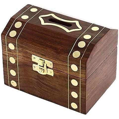 banco grande del dinero hecha a mano de madera - caja de dinero de la moneda para los niños y adultos de madera - caja decorativa alcancía - 7,6 x 12,7 x 7,6 cm