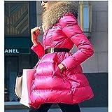GUXIU Winterjacke Frauen Winter Swandown mittellanger Rock Stil Daunenmantel Frau Daunenmantel Oberbekleidung White Down Parka,pink,S